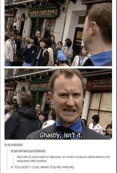 """Haha """"If you don't love Mark, you're wrong."""" I'd have to agree with that! <-- honestly, i still have no explanation as to why i have always hated moffat but loved gatiss..."""