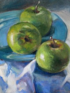 "Daily Paintworks - ""Three Green Apples"" - Original Fine Art for Sale - © Carlene Dingman Atwater Painting Lessons, Painting & Drawing, Watercolor Paintings, Apple Painting, Fruit Painting, Still Life Drawing, Still Life Oil Painting, Apple Art, Watercolor Fruit"