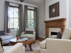 After: Soft Gray Living Room - Sophisticated Row House Parlor on HGTV  Makes me think we might be having too much grey.