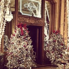 Step 3: Putting the final touches on with over 270 feet of garland and about 105 poinsettias to complete our #WaldorfWonderland look.