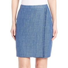 Akris punto Fringe-Trim Linen Pencil Skirt