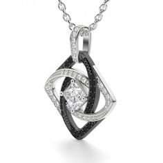 Embrace the mystery! Swirling ribbons of black and white diamond simulants whirl around a single 0.71 carat Princess cut white diamond simulant held in a kite setting at the center of this beautiful, dynamic Lorián Platinum pendant.   Center Stone: 0.71 carats 56 Round Brilliant cut white and black diamond simulant accents Chain sold separately. Click here to shop.  What is Lorián Platinum? Click   here to learn more. Product Model: LPXXAC0005XPCBLWH0071CS0LPXXXXXX
