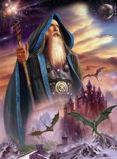 Merlin the Wizard & his Legend Mago Merlin, Fantasy World, Fantasy Art, Fantasy Dragon, Merlin The Magician, Male Witch, Fantasy Wizard, Psy Art, Framed Prints