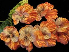 "Vintage Millinery Flower Velvet 1 3/4"" Pansy Lot of6 Salmon Peach Pink"