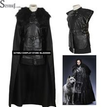 Game of Thrones Costume Jon Snow Costume Outfit With Coat Halloween Costume For Men Cosplay Costume new arrival SZYBKJAA0381(China (Mainland))