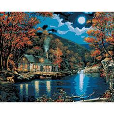 "Plaid:Craft Paint by Number Kit 16""x20"" Lakeside Cabin"