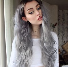 @evelina.forsell Instagram. This silver hair with black roots combination is so amazing