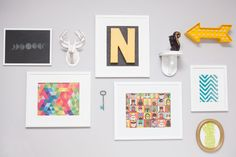 Modern, colorful nursery gallery wall