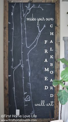 HUGE framed #chalkboard wall art flanking the TV...You have to see how cool this looks!