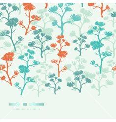 Abstract oriental trees frame horizontal seamless vector by Oksancia on VectorStock®