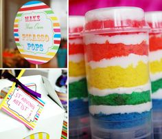 Starving artist rainbow birthday party--push-up cakes, play-dough party favors, balloon wreath