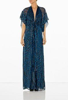 Navy Pattern Gather Waist Silk Jersey Dress by Issa