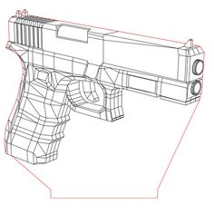Glock pistol 3d illusion lamp vector file for CNC - 3bee-studio