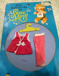 Vintage 1975 Little Sweet April Doll Bathtime Set - Clothes Outfit 2.99+3
