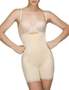 3baafe548ac0d Vedette Shapewear 504 Isabelle Strapless Mid Thigh Body w Buttock Enhancer  Nude Large -- Want