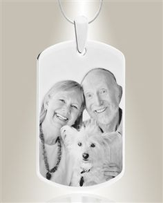 Display your affection for someone with this lovely Large Dog Tag Photo Engraved Silver Pet Keepsake.