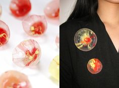 Shan Shan Mok 5th series, coral movement brooch, size small: 3.5cm diameter x 3cm height. 35$, via Etsy.