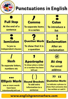 Punctuation Marks, Definition and Example Sentences - English Grammar Here Teaching English Grammar, English Vocabulary Words, Learn English Words, English Phrases, English Language Learning, Teaching Spanish, English Study, German Language, Teaching Writing