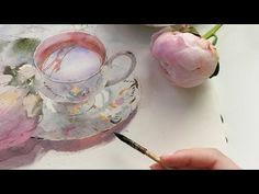 Flowers and a cup in watercolor — Work in progress — Still life - YouTube