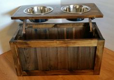 Raised dog feeder with storage elevated feeder dog by LilBitRustic                                                                                                                                                                                 More