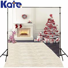 Kate Merry Christmas Photography Backdrops Photo Zebra Stove Christmas Tree Gifts Backgrounds for Photo Studio Pirint LK 1361 Christmas Photo Background, Christmas Background Photography, Christmas Photography Backdrops, Christmas Backdrops, Christmas Tree And Fireplace, Christmas Tree With Gifts, Christmas Photos, Christmas Themes, Montenegro