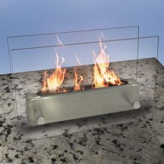 table top stainless steal fire