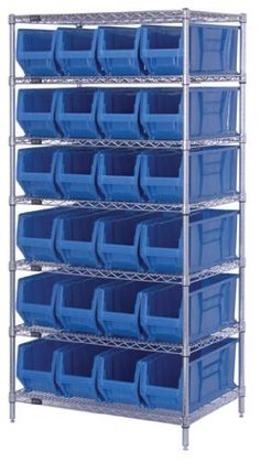 Wire Shelving System 24 x 36 x 74, 7 Shelves, 24 QUS951 YELLOW Bins 24 x 8 by Quantum. $1198.58. . Optional clear plastic window increases bin capacity and provides a quick view of the bin contents. Bins are autoclavable up to 250F and are resistant to extreme cold. Heavy duty, 20 gauge shelving is engineered for superior strength and are triple bent on all four sides, allowing 400 lb load capacity per shelf. Easy quick assemblyThese extra large stacking containe...