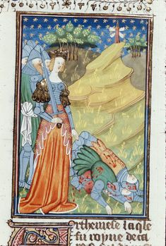 Artemisia personally leading her army, by the Talbot Master. From Boccacio, de mulieribus claris/Le livre de femmes nobles et renomées (trad. anonyme), c. 1440, northern French (Rouen). British Library, Royal 16 G V fol. 69