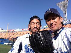 Hidetoshi Nakata and Daisuke Miura (Yokohama DeNA BayStars)