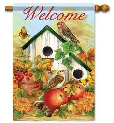 """Apples /& Tanager Welcome House Flag Spring Bird Double Sided 28/"""" x 40/"""""""