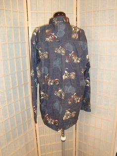 New WT Clearwater Outfitters Sz L Men's Navy Blue Motorcycle Design Dress Shirt #ClearwaterOutfitters