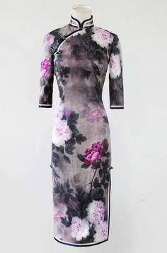 Smoke gray cheongsam with peonies - Custom-made Cheongsam,Chinese clothes, Qipao, Chinese Dresses, chinese clothing,EFU Tailor Shop