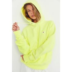 Champion + UO Pigment Dye Hoodie Sweatshirt ($69) ❤ liked on Polyvore featuring tops, hoodies, yellow hooded sweatshirt, yellow top, yellow hoodies, champion hoodie and hooded pullover