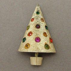 Christmas Tree Pin Vintage Corocraft Xmas Brooch