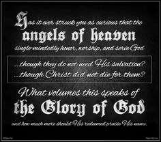 Pondering angels and God's glory