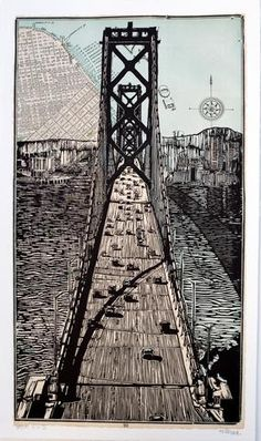 """2-Color Linocut Print. Printed by hand on 14"""" x 24"""" white RivesBFKpaper.Signed, numbered, and embossed.2nd edition of 100. Please allow two weeks for delive"""
