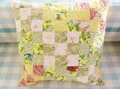 Pillow case decorative pillowcase patchwork bird flower quilted throw yellow green light pink red sofa bed cushion cover home decor cotton by poppyshome on Etsy