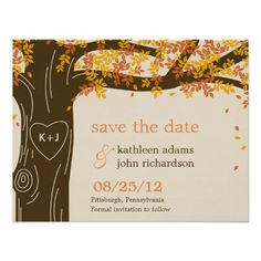 Oak Tree Fall Wedding Save The Date Card Announcement. love the tree w/ leaves!