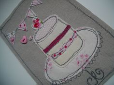 Handmade embroidered pretty cake by SewSweetbySuzanne on Etsy, £5.95