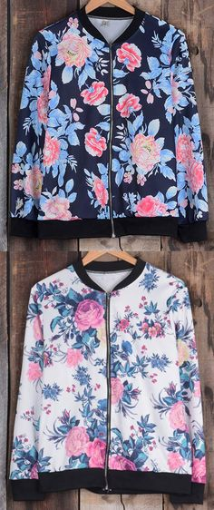 Have this floral top with free shipping! This zipper closure splicing coat will be your favorite daily look! See the full collection at Cupshe.com