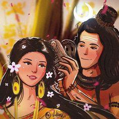Shiva Parvati by Nidtoons Rudra Shiva, Mahakal Shiva, Shiva Art, Krishna Art, Hindu Art, Krishna Leela, Lord Rama Images, Lord Shiva Hd Images, Lord Ganesha Paintings