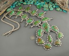 Huge EDITH KEE Green ROYSTON Turquoise NAVAJO Sterling SQUASH BLOSSOM Necklace