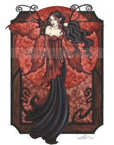 """Goth Nouveau IV"" ORIGINAL ART - Watercolor Paintings A - H - Amy Brown Fairy Art - The Official Gallery"