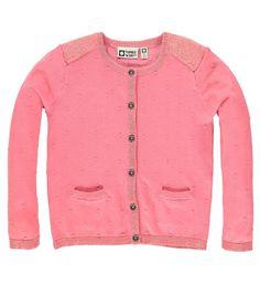 Tumble 'N Dry fijn gebreid vest Aurecon. Dit vest heeft een knoopsluiting en 2 steekzakken aan de voorzijde. De bolletjes en de gouden glitter zorgen voor een girly look. 100% katoen