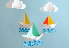 Oh my darling! How sweet is this?! By Gosh and Golly on etsy: http://www.etsy.com/listing/70428188/little-sailboats-3d-mobile?ref=v1_other_1