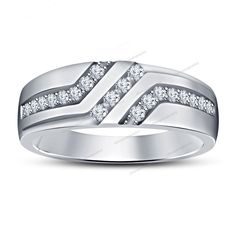 10k White Gold 925 Silver Round Cut D/VVS1 Diamond Men's Slant Band Ring 7 8 9 #silvergemsjewelry #SlantBand
