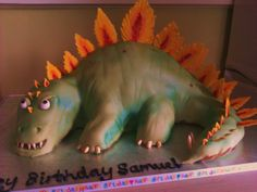 Dinosaur cake: stegosaurus :) Dino Cake, Dinosaur Cake, Cupcake Cookies, Cupcakes, Bespoke Design, Celebration Cakes, Charity, Wedding Cakes, Dinosaur Stuffed Animal