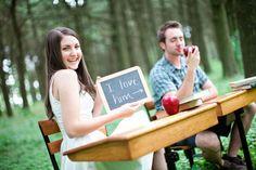 so creative http://www.bridalguide.com/planning/engagement/school-themed-engagement-photos