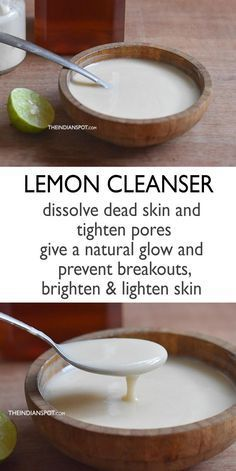 Skin Beauty Remedies Lemon Skin Brightening Cleanser - Lemon and yogurt have lots of skin care benefits and when combined together they make an excellent beauty product. Yogurt helps to tighten and brighten the skin while the acidity in lemon removes dead Skin Care Regimen, Skin Care Tips, Skin Tips, Organic Skin Care, Natural Skin Care, Natural Beauty, Natural Facial Cleanser, Facial Cleansers, Face Cleanser