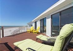 WATTERS EDGE - This is an older, one level home that sits directly on the Gulf. It has a fully equipped kitchen,a large, open living area and a breakfast bar. This home features two gulf front bedrooms with direct deck access. On the West side of house there is a Gulf front bedroom with a Queen and a bedroom with 2 twin beds. On the East side of house, there is a Gulf Front bedroom with a King size bed and a bedroom with a Set of bunkbeds (1 full on bottom/twin on top).